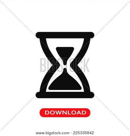 Hourglass icon vector in modern flat style for web, graphic and mobile design. Hourglass icon vector isolated on white background. Hourglass icon vector illustration, editable stroke and EPS10. Hourglass icon vector simple symbol for app, logo, UI.