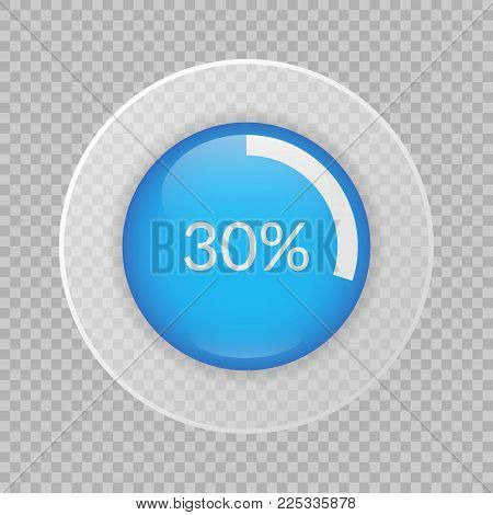 30 Percent Pie Chart On Transparent Background. Percentage Vector Infographics. Circle Diagram Isola