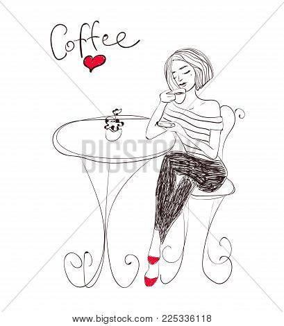 Hand drawn vector woman with coffee cup in cafe. Calligraphic text.