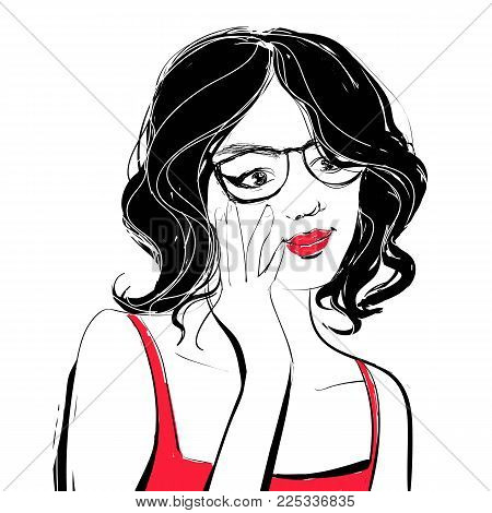 Young beautiful woman with red lips and curly dark hair holding her black glasses. Vector fashion style illustration.