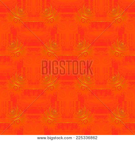 Abstract geometric oriental background. Regular spiral ornaments gold, orange and red,  ornate and dreamy.