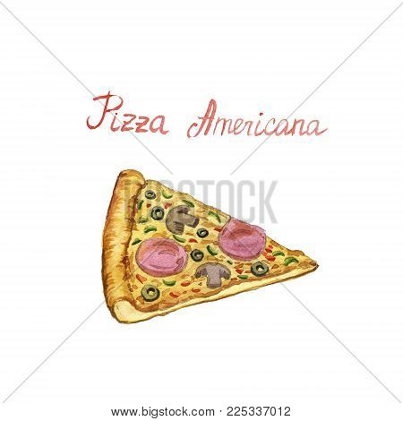 watercolor drawing slice of pizza americana, hand drawn illustration