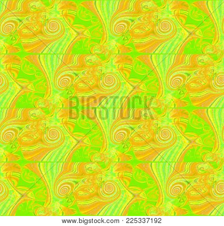 Abstract geometric background. Regular intricate spirals pattern yellow, ocher and bright green vertically.