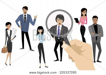 Employer of choice, candidate selection, employees group management business recruitment concept, vector cartoon illustration