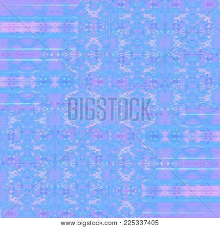 Abstract intricate pattern. Regular ornaments light blue, pink, violet and purple shifted.
