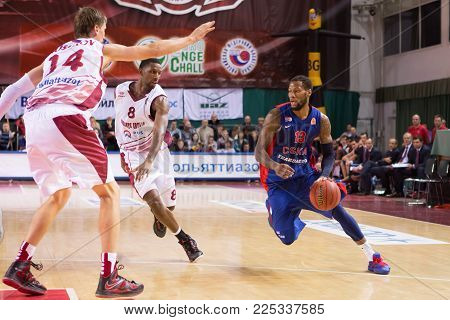 SAMARA, RUSSIA - DECEMBER 01: BC CSKA forward Sonny Weems #13 drives to the basket during the BC Krasnye Krylia game on December 01, 2013 in Samara, Russia.