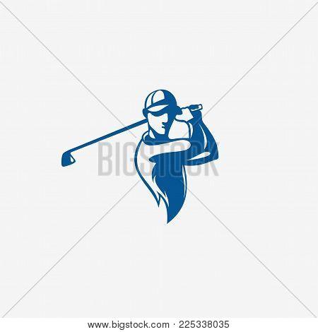 Blue color golfplayer taking a shot on white background vector illustration design.