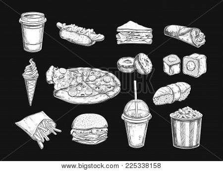 Fastfood dishes with drinks . Vector Hand drawn Isolated vector objects. Hamburger, pizza, hot dog, cheeseburger, coffee and soda cups, ice cream , french fries, popcorn , donuts, rolls sandwich