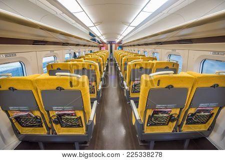 Sendai,japan - October 23,2017 : Interior Of Standard Class Seat Of E6 Series Shinkansen Bullet Trai