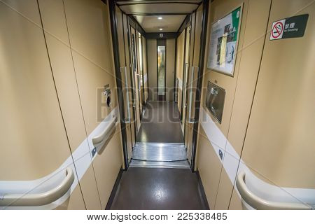 Sendai,japan - October 23,2017 : Interior Of Standard Class Of E6 Series Shinkansen Bullet Train At