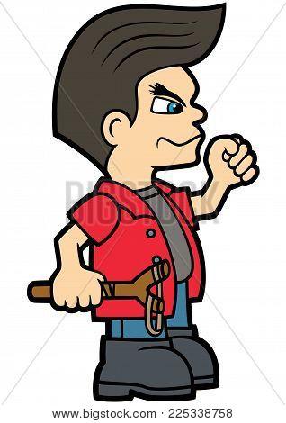 Illustration a hooligan boy with a raised fist in a flat cartoon style
