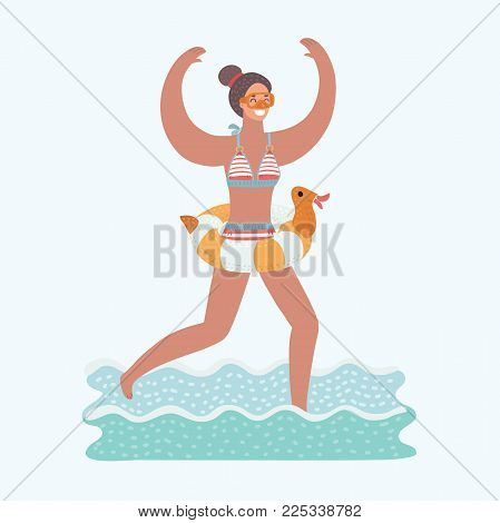 Vector illustration of young rejoice woman running in sea water with diving mask on her face and diving tube in his hand. Rubber duck inflatable ring on her waist