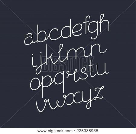 Vector cartoon illustration of handwritten Script font. Thin line style modern calligraphy cursive typeface. Italic, slanted font on dark background.