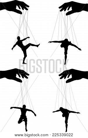 silhouettes of four marionettes. sixth variant. vector illustration