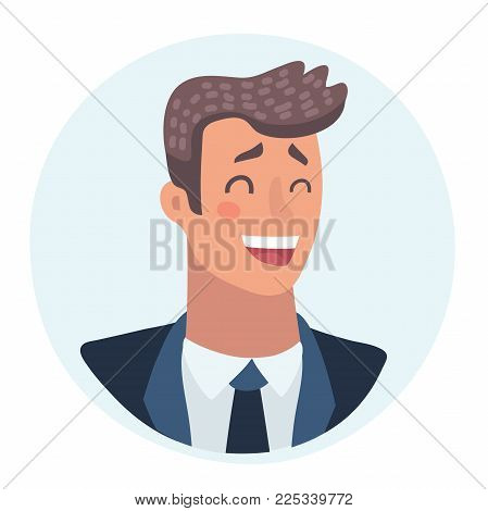 Young man face, laughing facial expression, cartoon vector illustrations isolated. Handsome boy emoji laughing out load with closed eyes and open mouth. Laughing face expression