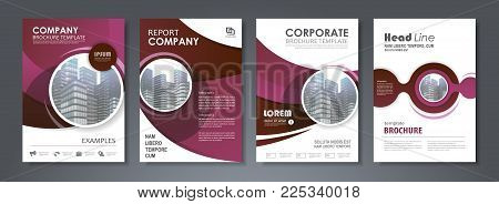 Purple presentation template set for business annual report, corporate marketing,  corporate report, creative flyer and leaflet, advertising, brochure,  banner, slideshow, booklet, background.