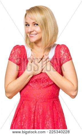 Portrait of woman with beautiful face, isolated on white background. Young cute girl showing different emotions - smiling to you shyly. Female wearing a pink dress.