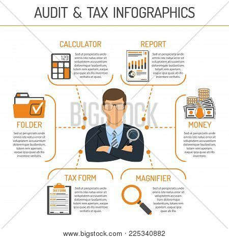 Auditing, Tax, Accounting Infographics. Auditor Holds Magnifying Glass in Hand and Checks Financial Report with Charts, Calculator and Folder. Flat Style Icons. Isolated vector illustration