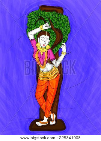 Vector design of Vintage statue of Indian female sculpture  watercolor painting