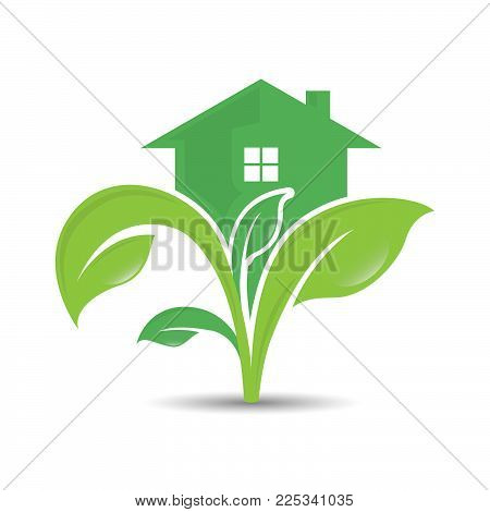Ecology Logo. Logo Of Green Leaf And House On The Top. Ecology Nature Element Vector Icon.