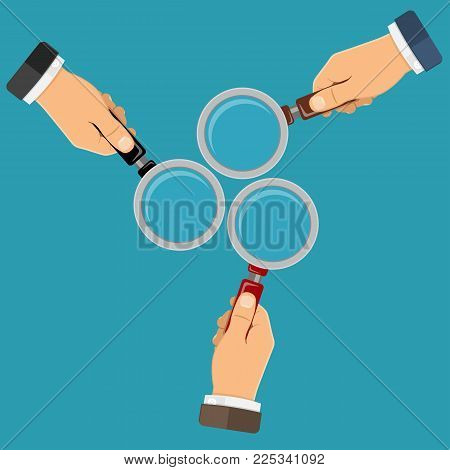 Magnifying Glass Magnifier in businessman hands. Flat style icon. Isolated vector illustration