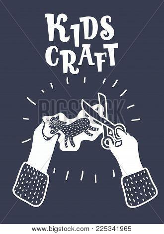 Vector cartoon illustration of Hands Doing Crafts Set on black and white Color. Scissor in kids hands. Modern graphic concept.