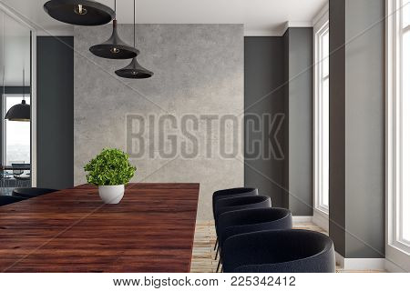 Modern boardroom interior with copy space on wall. 3D Rendering