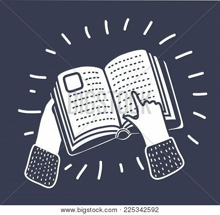 Vector cartoon illustration of finger point at book, a hand pointing at a book icon. Black and white illustration on dark background in modern style.