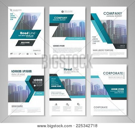 Blue presentation template set for business annual report, corporate marketing,  corporate report, creative flyer and leaflet, advertising, brochure,  banner, slideshow, booklet, background.