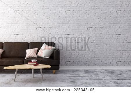 Clean brick living room interior with furniture and copy space on wall. Design and style concept. 3D Rendering