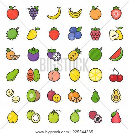 Cute Fruit Filled Outline Icon Set, Such As Orange, Kiwi, Coconut, Banana, Papaya, Peach, Tropical F