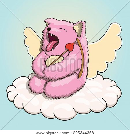 Valentines Day, Mythical Yawning Cupid Pink Cat Tired, Resting on the Cloud with Cupid Arrow and Bow.Vector EPS 10