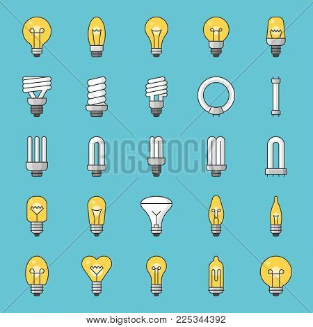 Set Of Simple Type Of Light Bulb And Fluorescent, Filled Color  Outline Icon