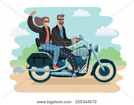 Vector cartoon illustration of adventurousy couple in sunglasses and leather jacket riding a scooter in the park. Bikers family.