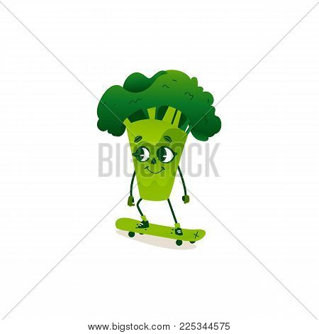 Funny broccoli character with human face riding a skateboard, cartoon vector illustration isolated on white background. Funny broccoli character, mascot with human face skating, riding a skateboard