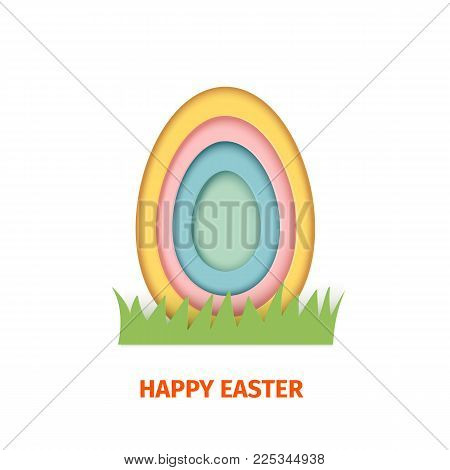 HJappy Easter greeting card. A paper card in a craft paper cut style with egg layers. Vector illustration. Greeting card easter egg scrapbooking for design of invitation, gift, present, other.
