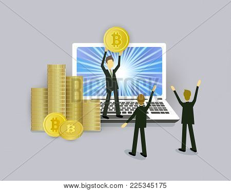 Bitcoin concept businessmen, open laptop and stacks of coins, vector illustration isolated on white background. Businessman standing on stack of coins with bitcoin in hands on open laptop