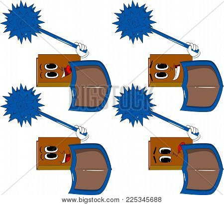 Books Holding A Spiked Mace And Shield. Cartoon Book Collection With Happy Faces. Expressions Vector