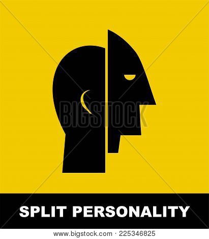 Split Personality. Simple Flat Vector Illustration Of Mental Health Concept.  Flat Illustration In B
