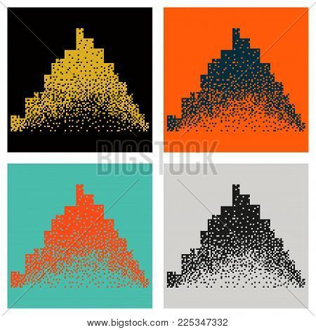 Set of Night city vector illustration. Dark urban scape. Night cityscape in flat style. Night city skyline abstract background. Modern night city landscape.