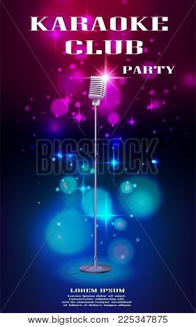 Neon glowing flyer with retro microphone and soft bokeh. Banner with lights effects for night club or karaoke party. Vector illustration EPS 10