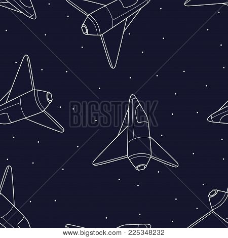 Spaceship seamless pattern background. Shuttle vector illustration. Exploration of the cosmos.