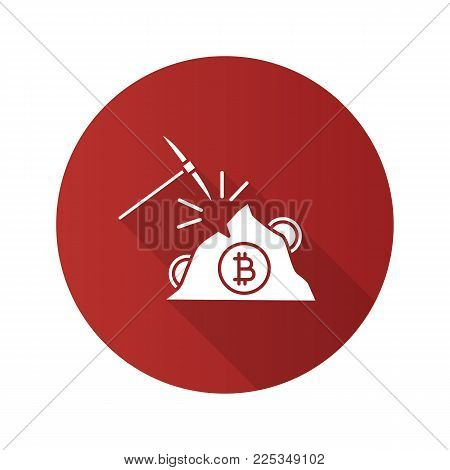 Navvy pick with bitcoin sign flat design long shadow glyph icon. Cryptocurrency mining. Pickaxe. Vector silhouette illustration