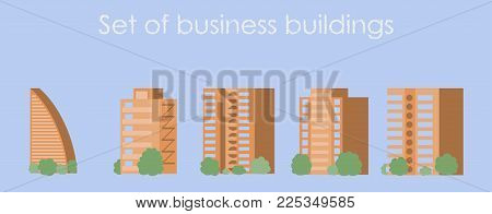 Skyscrapers buildings. Towers city business architecture, apartment and office building, urban landscape. Vector illustration in trendy flat style isolated on background