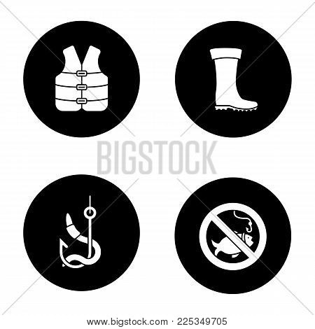 Fishing glyph icons set. Life jacket, bait, rubber boot, no fishing sign. Vector white silhouettes illustrations in black circles