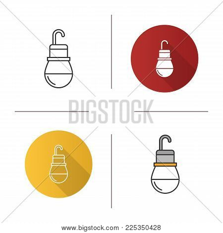 Light bulb icon. Flat design, linear and color styles. Lamp. Isolated vector illustrations