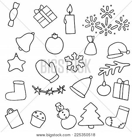 New year icons set. Christmas coloring stickers. Collection of symbol eve. Fir-tree, snowman, candy, gift, present, bell, cap, felt boots, toy, tree, snowflake, star, variegated, cake