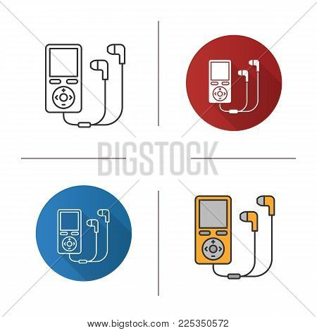 MP3 player icon. Flat design, linear and color styles. Isolated vector illustrations