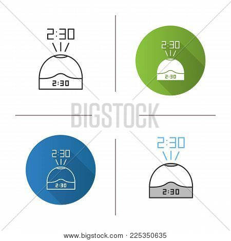 Projection clock icon. Flat design, linear and color styles. Digital talking clock. Isolated vector illustrations