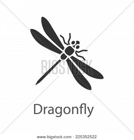 Dragonfly glyph icon. Insect. Silhouette symbol. Negative space. Vector isolated illustration